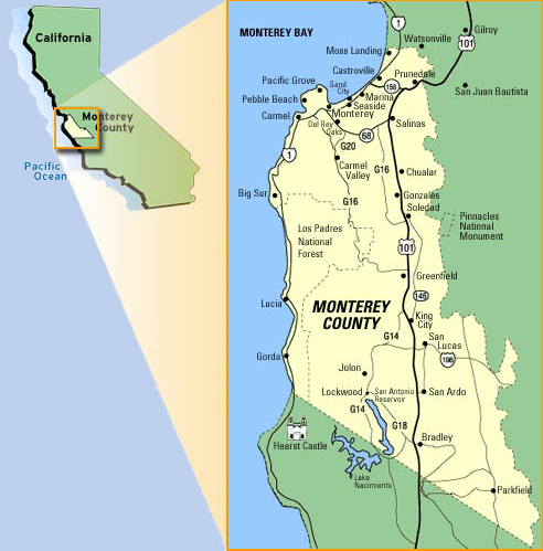 Get a birds-eye view of the Monterey Peninsula with our Monterey ... Montery Peninsula Map